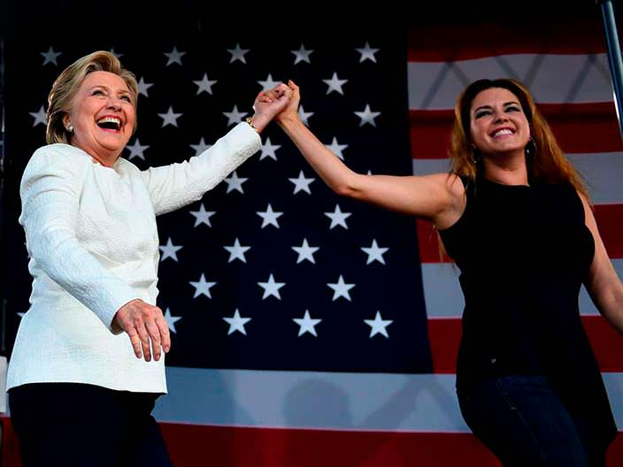 Президентская кампания Хиллари Клинтон и Алисия Мачадо