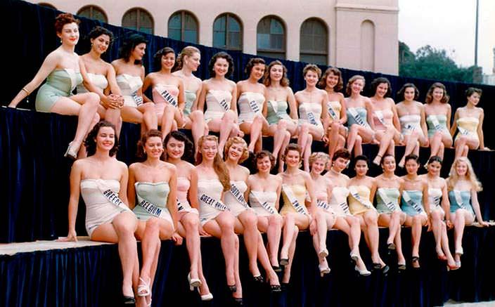 Первый конкурс Мисс Вселенная, 1952 год. Фото в купальниках