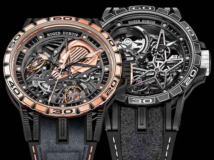 Часы-скелетоны Roger Dubuis в честь Pirelli и Aventador S