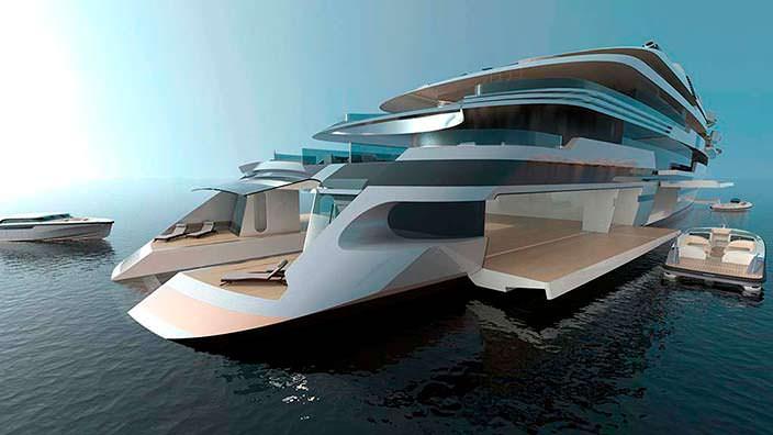 Яхта с гаражом на 6 автомобилей. Дизайн Кена Фрейвоха