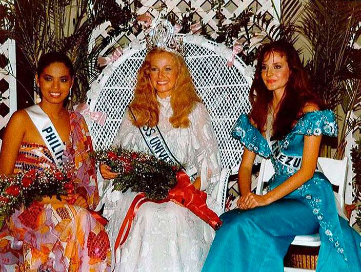 Мисс Филиппины, Мисс Швеция и Мисс Венесуэла в 1984 году