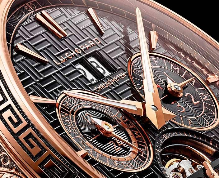 Циферблат золотых часов Chopard L.U.C Perpetual T