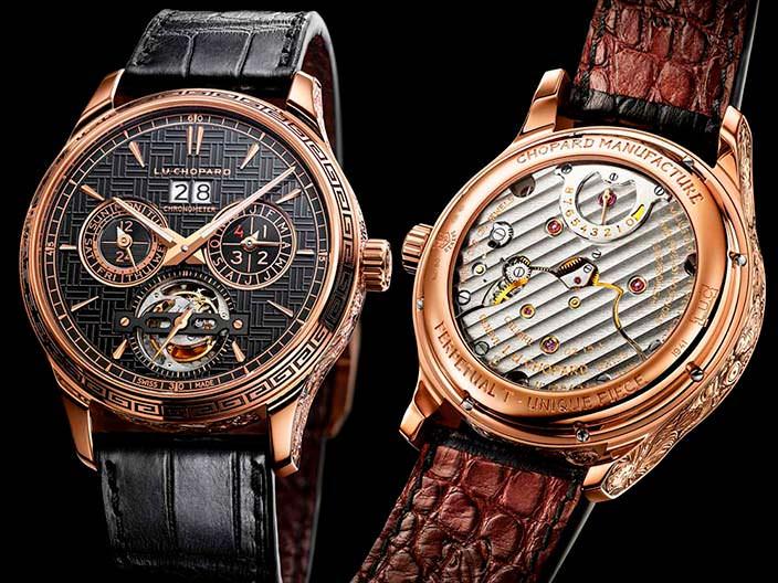 Золотые часы с турбийоном и ремешком из кожи аллигатора Chopard