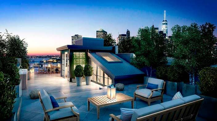 Патио на крыше дома Дэниела Крейга в Бруклине