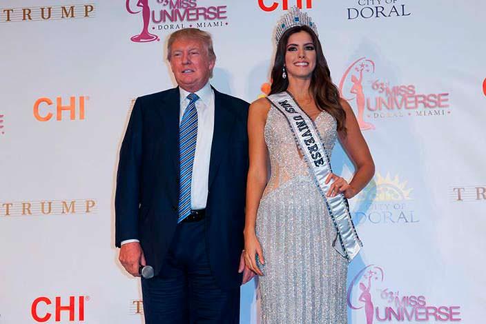 Дональд Трамп и «Мисс Вселенная 2014» Паулина Вега