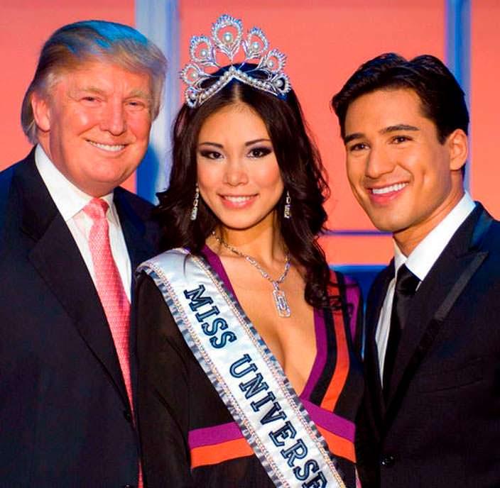 Дональд Трамп и «Мисс Вселенная 2007» Риё Мори