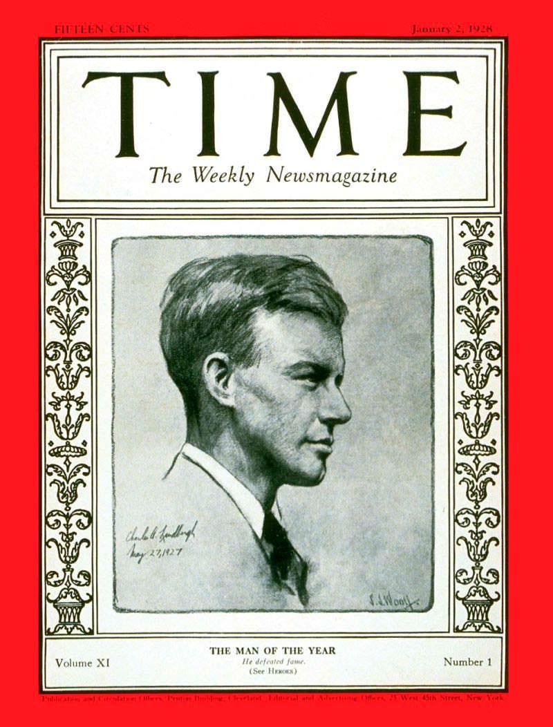 1927 год. Лётчик Чарльз Линдберг на обложке Time