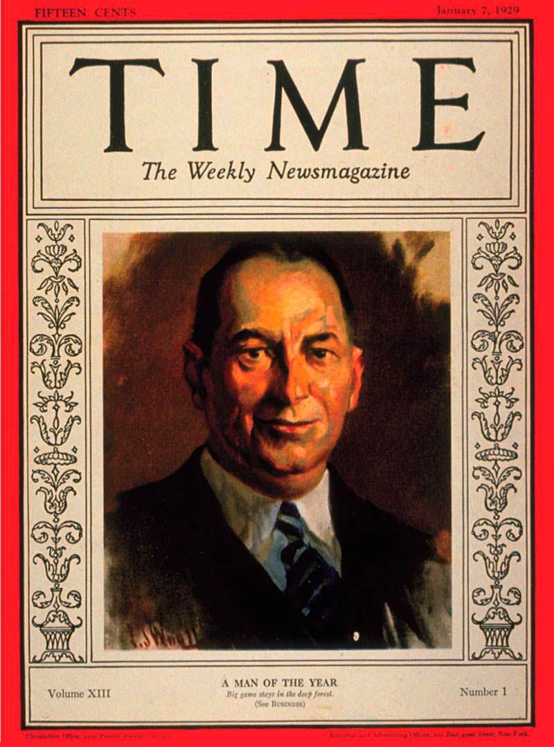 1928 год. Промышленник Уолтер Крайслер на обложке Time