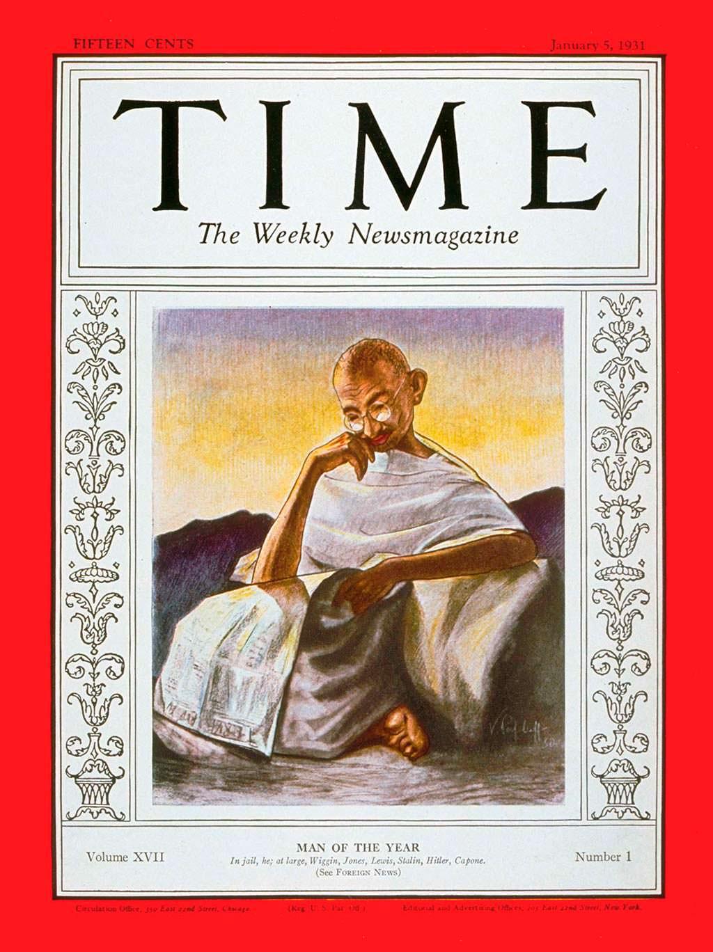 1930 год. Политик Махатма Ганди на обложке Time