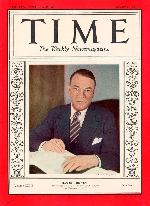 1933 год. Бизнесмен Хью Джонсон на обложке Time