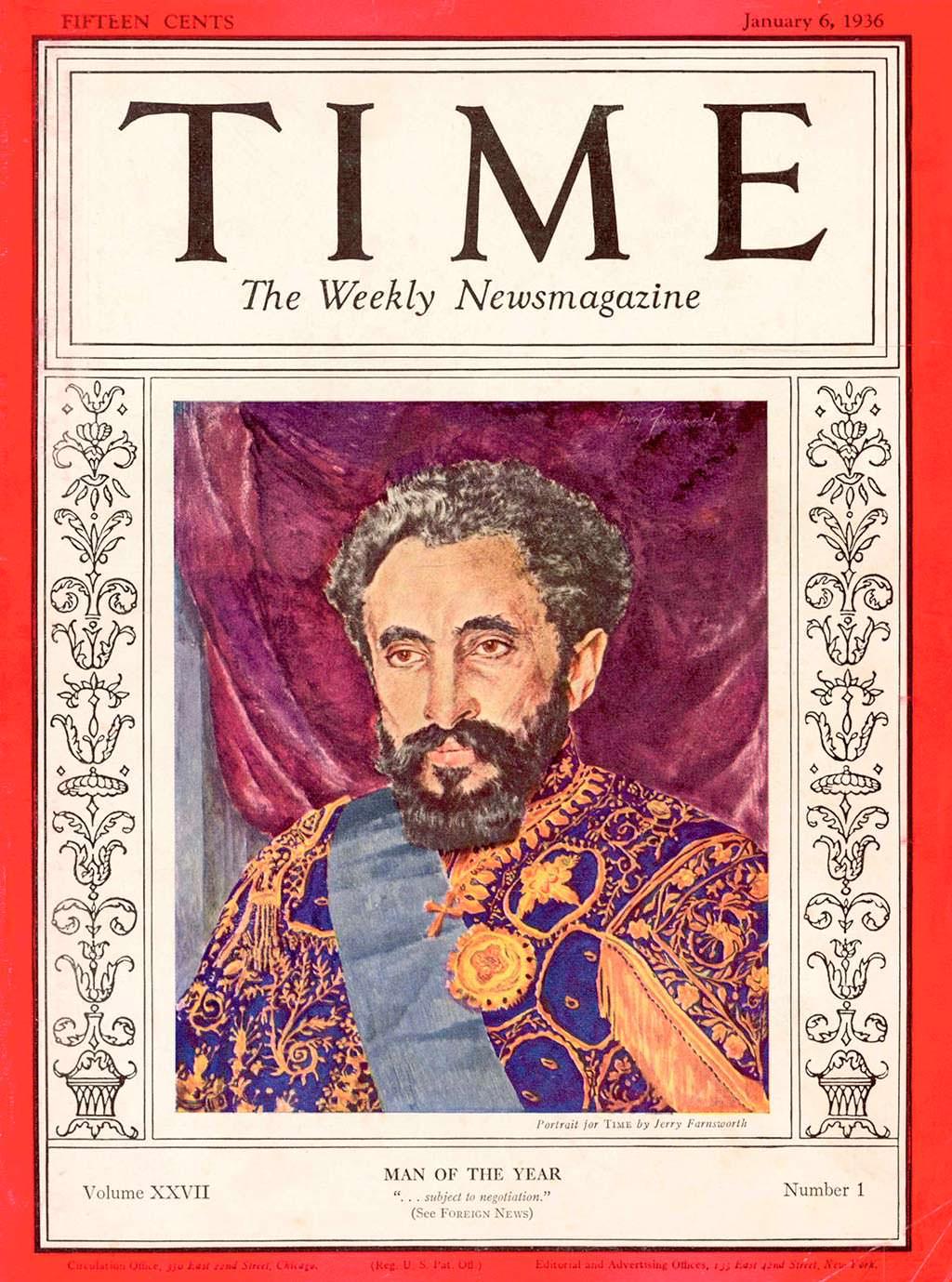 1935 год. Император Эфиопии Хайле Селассие I на обложке Time