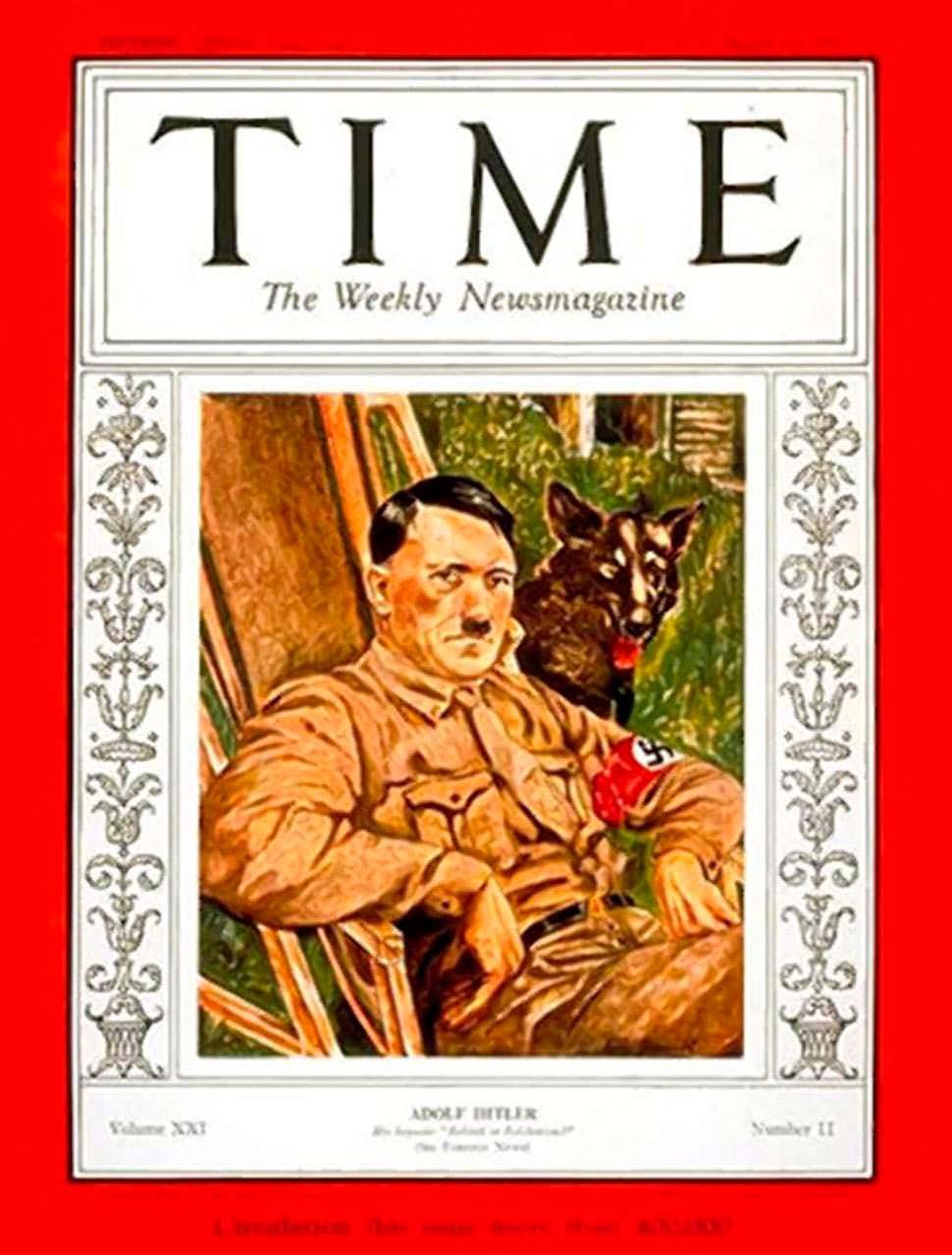 1938 год. Канцлер Германии Адольф Гитлер на обложке Time