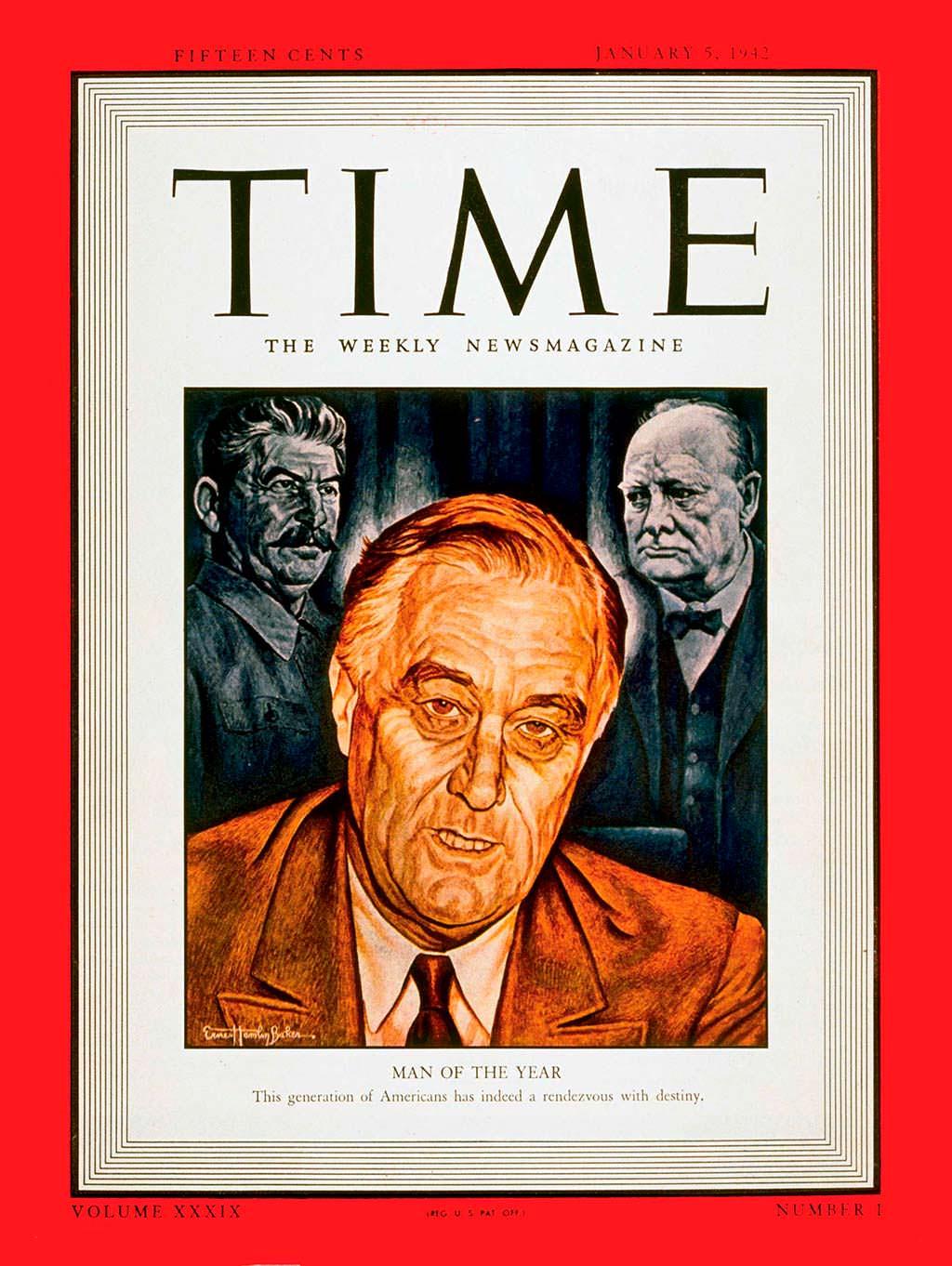 1941 год. 32-й президент США Франклин Рузвельт на обложке Time