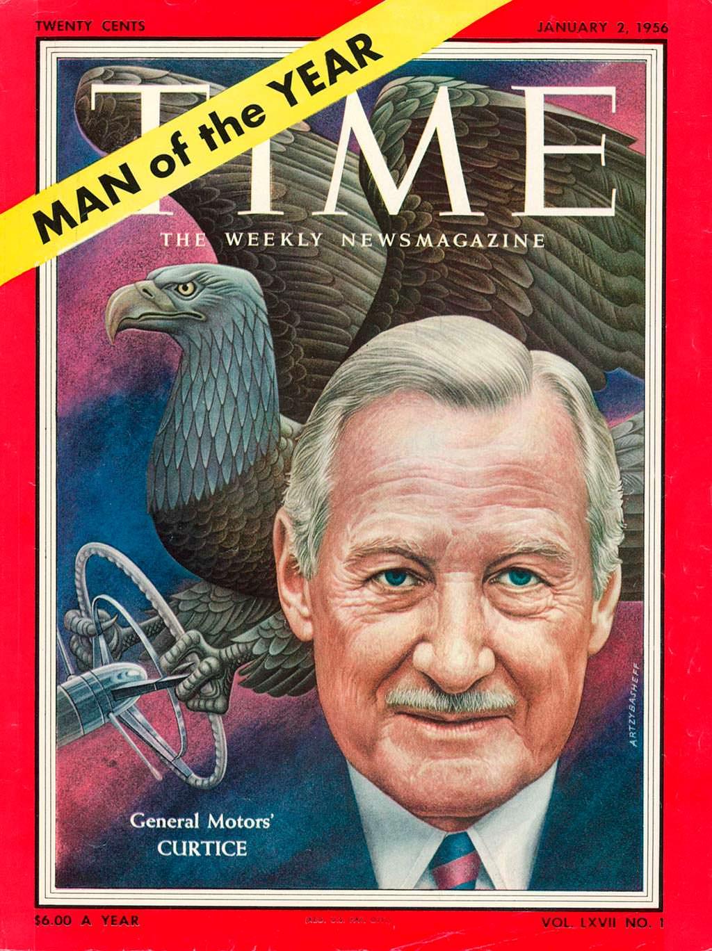 1955 год. Президент GM Харлоу Кёртис на обложке Time