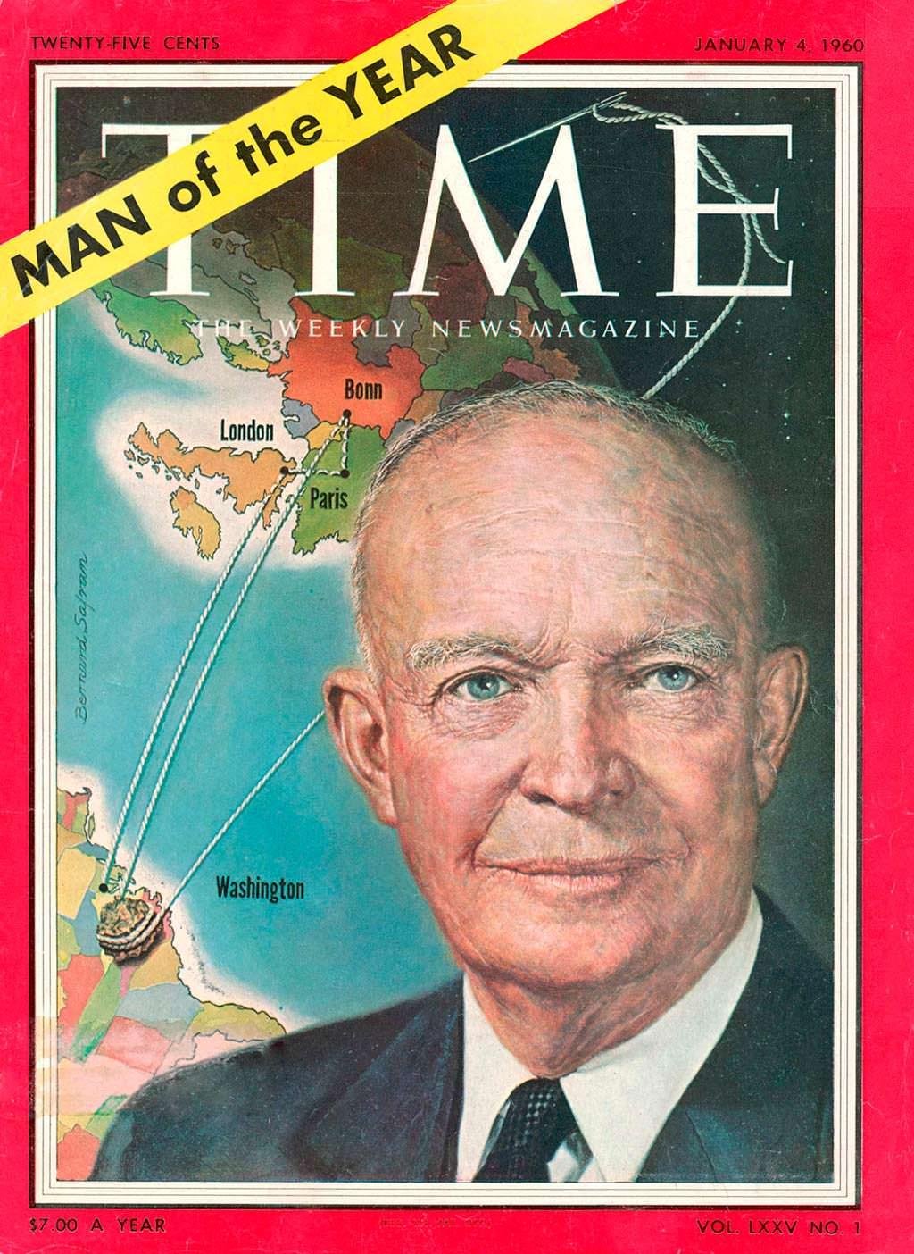 1959 год. 34-й президент США Дуайт Эйзенхауэр на обложке Time