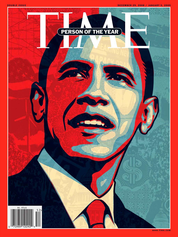 2008 год. 44-й президент США Барак Обама на обложке Time