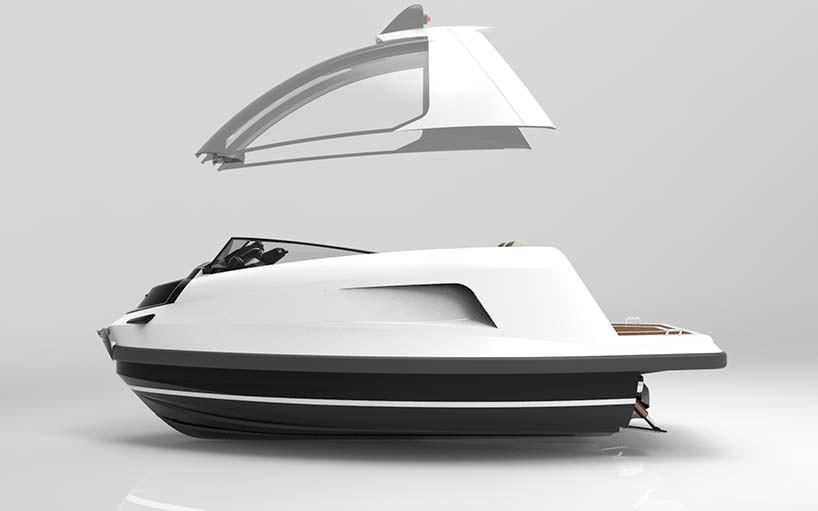 Мини-катер Jet Mini: съемная крыша из углеродного волокна