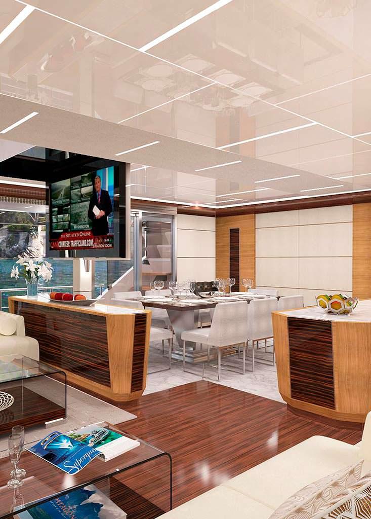 Камбуз и столовая на 6 персон яхты Ocean Alexander 90
