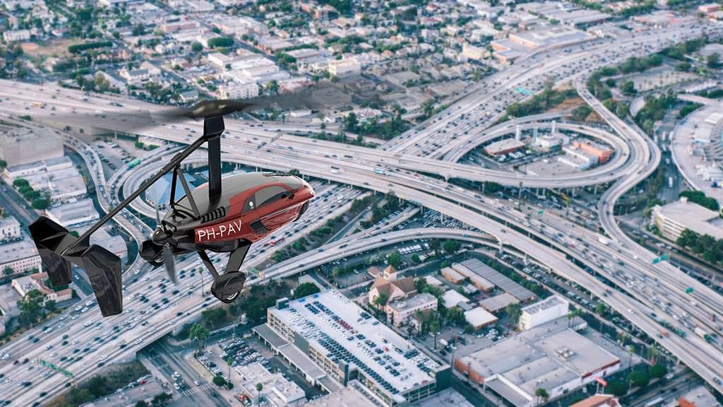 Трансформируемый автомобиль PAL-V Liberty в небе