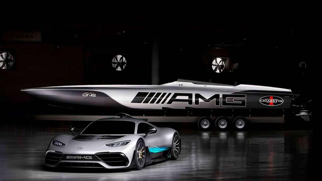Супер-катер Cigarette Racing и суперкар Mercedes-AMG