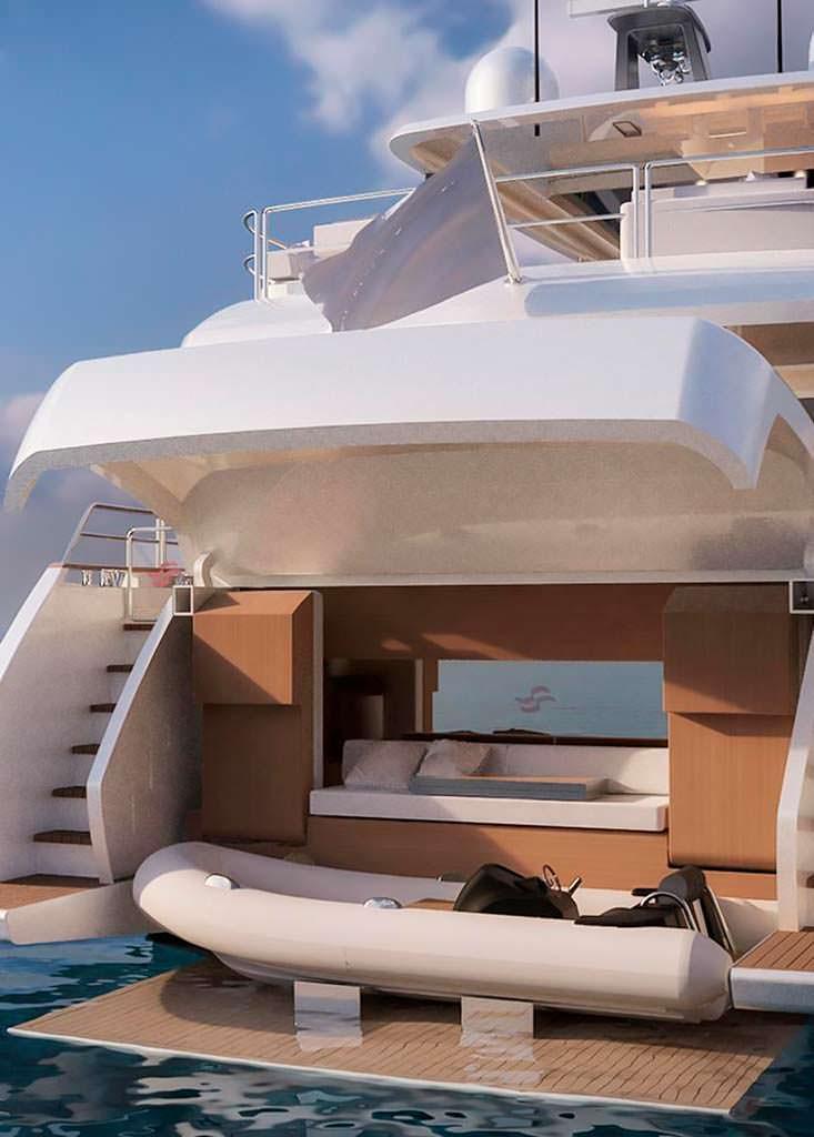 Пляжный клуб / гараж для тендера на яхте Sirena 85