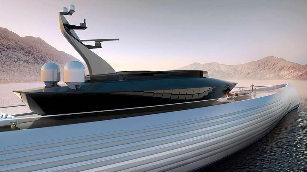 Гигантская яхта в форме каноэ Tuhura от голландской Oceanco