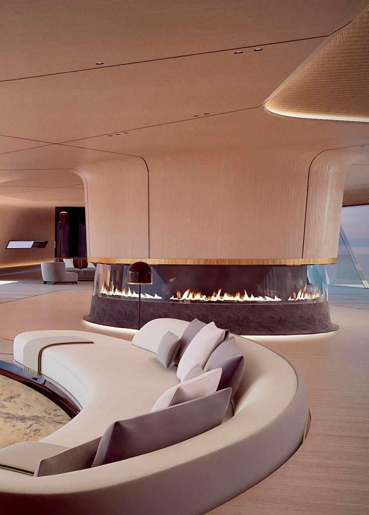 Дизайн салона 115-метровой яхты Tuhura от Oceanco