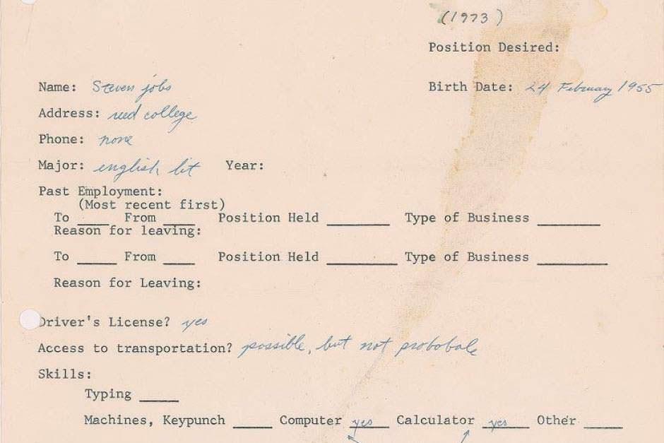 Резюме Стива Джобса 1973 года. Цена $174 757