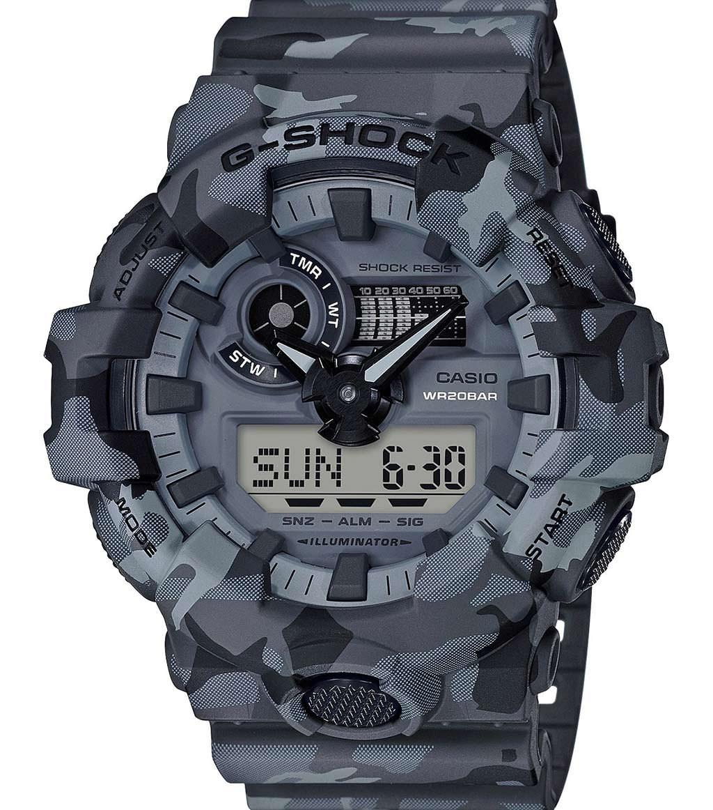 Камуфляжные часы Casio G-Shock GA700CM-8A. Цвет серый стелс