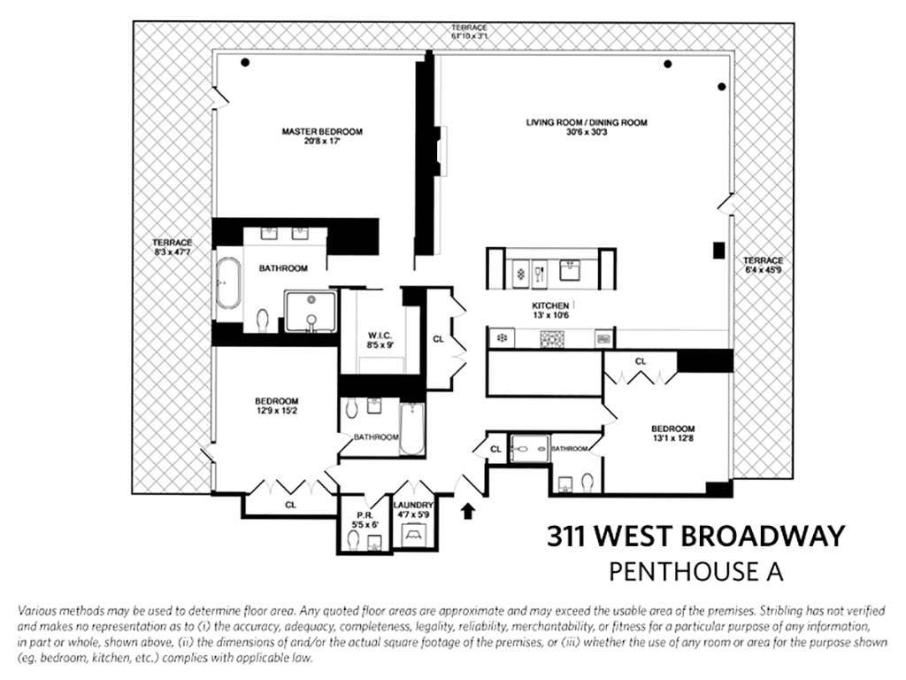 План квартиры с тремя спальнями Джастина Тимберлейка
