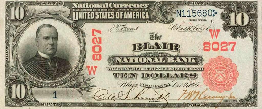 Коллекционная купюра номиналом $10 1905 года. Цена до $40 000