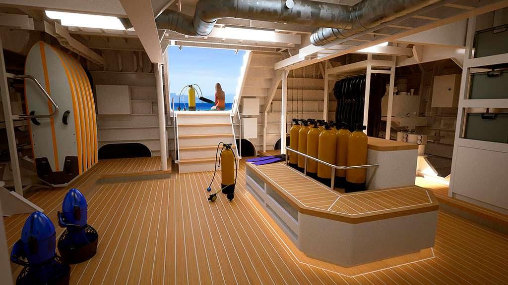 Дайвинг-центр на борту судна сопровождения яхты