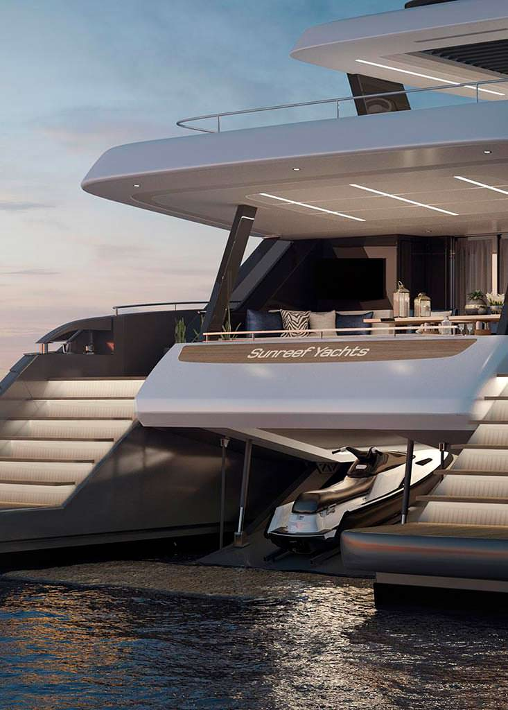 Яхта-катамаран Sunreef 80 Power. Гараж для гидроцикла