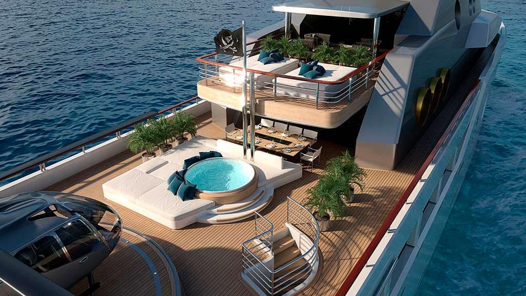 Яхта Broadway со спа-бассейном и вертолетной площадкой