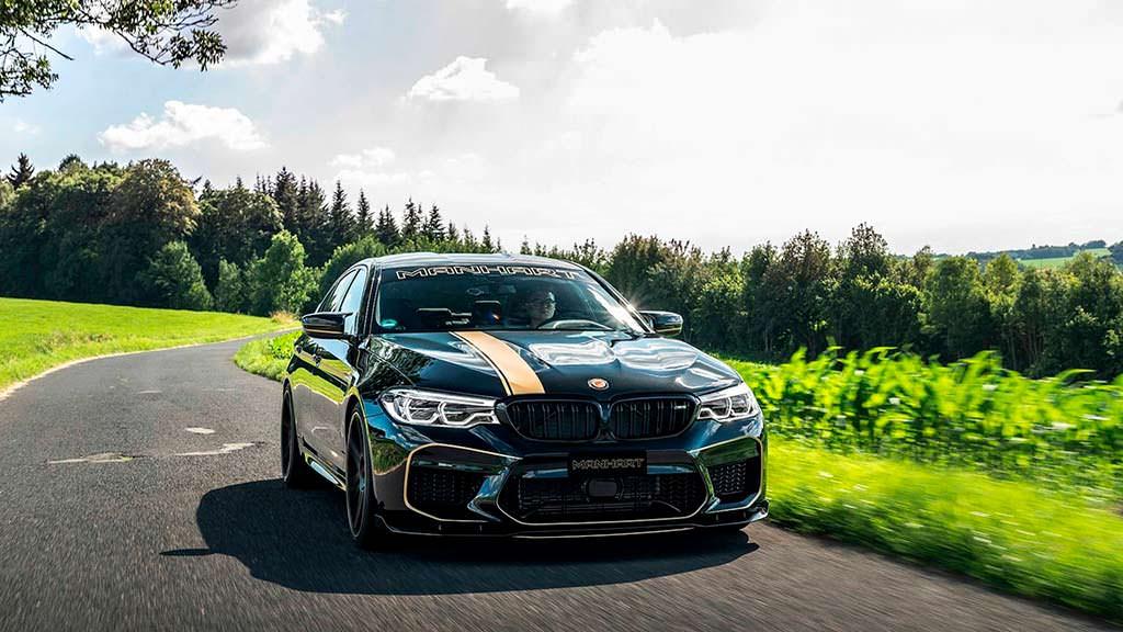 Черный седан BMW M5. Тюнинг от Manhart