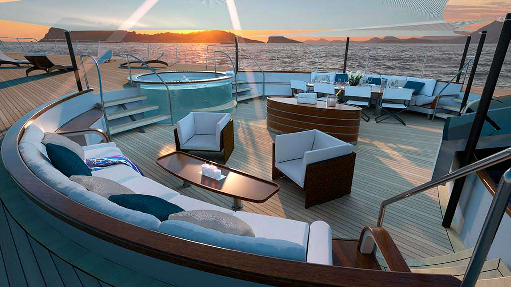 Бар и джакузи на палубе яхты Argonaut от Perini Navi