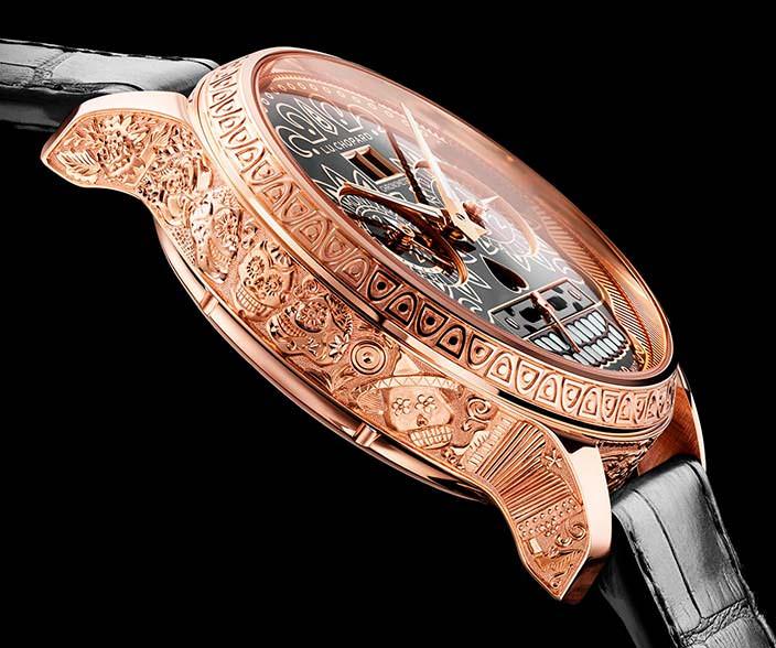Золотые часы с ручной гравировкой корпуса от Chopard
