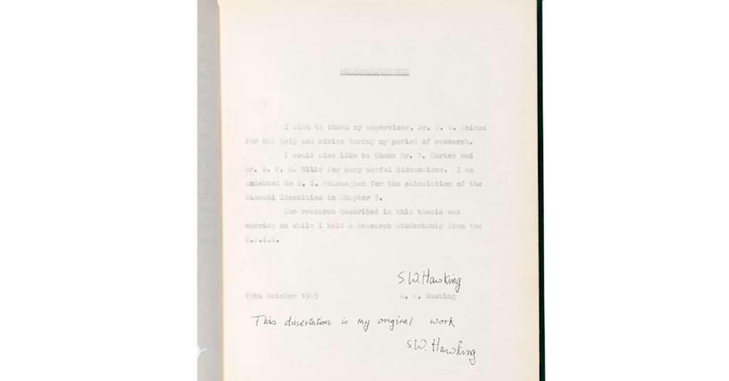 Докторская диссертация Стивена Хокинга 1965 года