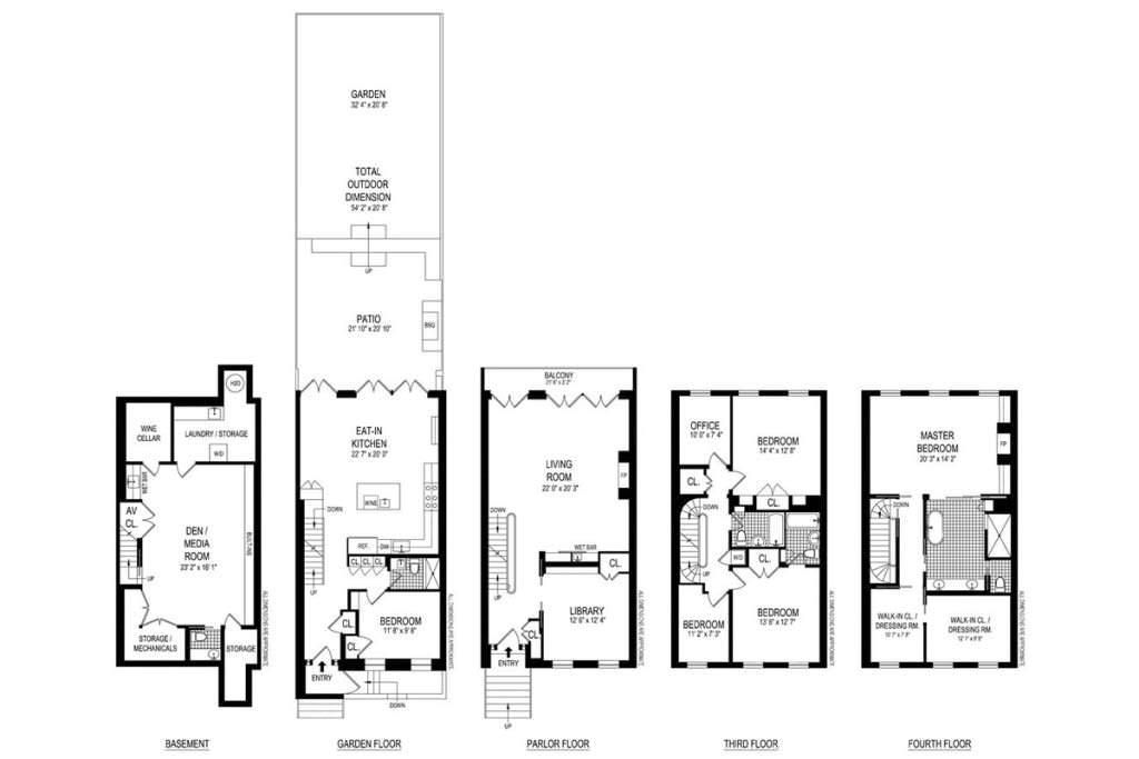 План таунхауса на пяти этажах