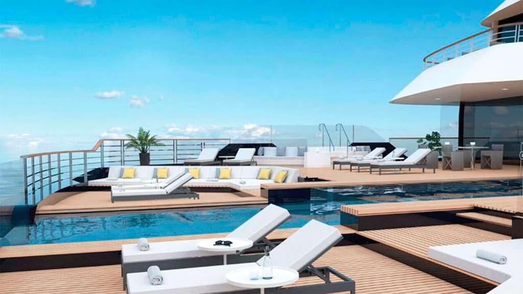 Пляжный клуб с бассейном мегаяхты Ritz-Carlton