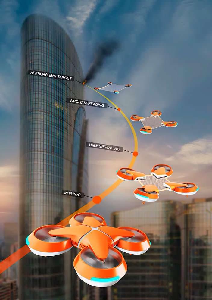 Дрон Net Guard для спасения людей в небоскребах