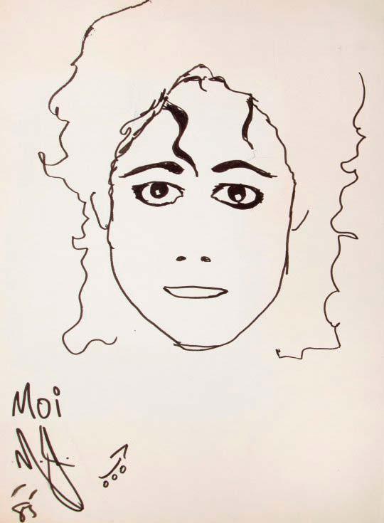 Автопортрет Майкла Джексона на бумаге ручкой