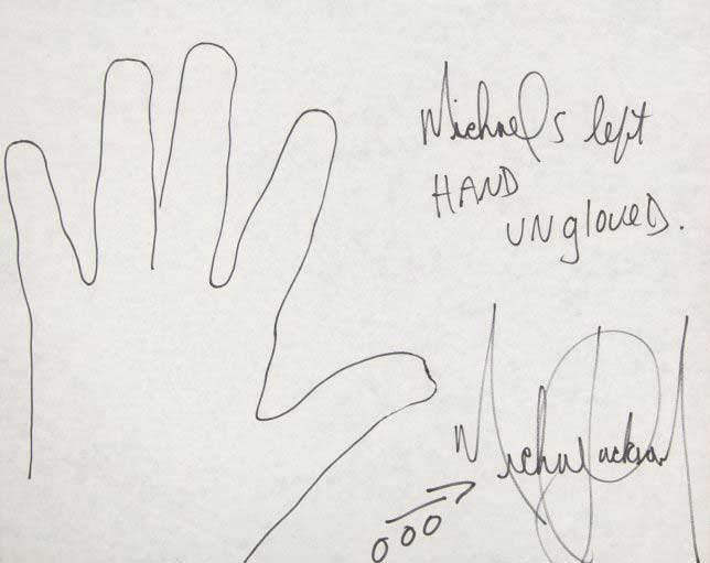 Отпечаток левой руки Майкла Джексона на бумаге ручкой
