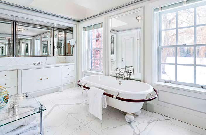 Фото | Дизайн ванной комнаты с мраморной плиткой