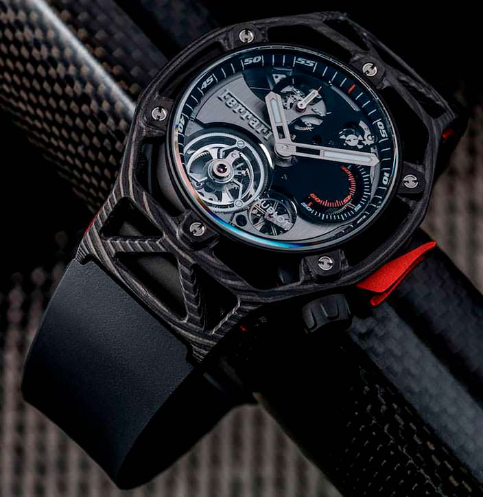 Уникальные часы Hublot Techframe Ferrari Tourbillon