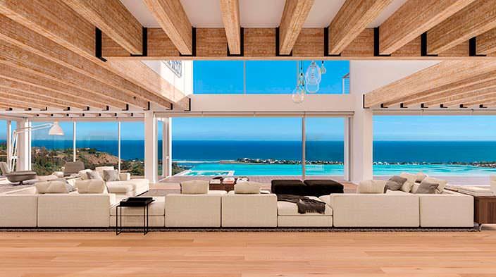 Фото   Зал с выходом к панорамному бассейну с видом на океан