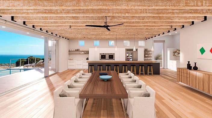 Фото   Кухня-столовая с выходом на панорамную террасу