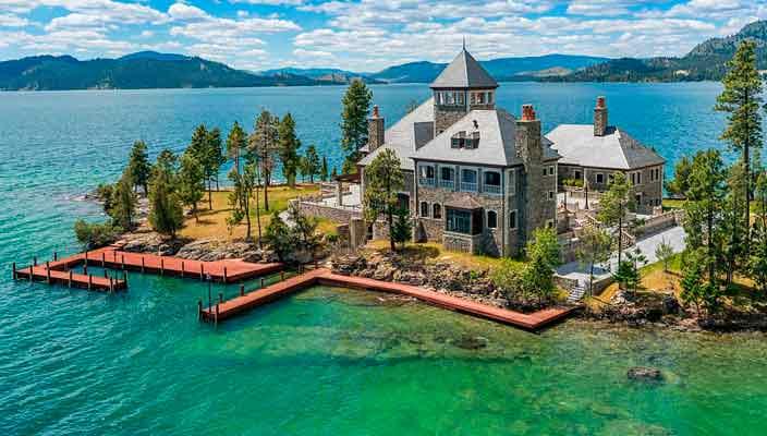 В Монтане продают частный остров с усадьбой   фото, цена