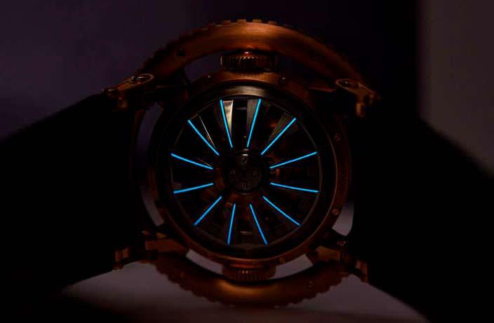 Неоновая подсветка задней крышки часов MB&F HM7 Aquapod