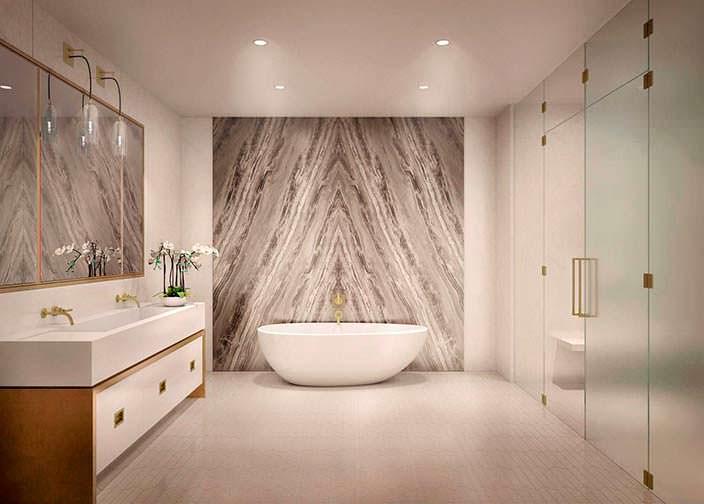 Дизайн ванной комнаты из мрамора